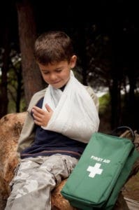 child with hurt arm