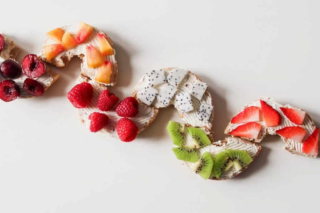 fruit on bagel halves