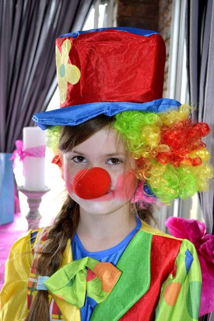 girl in clown costume