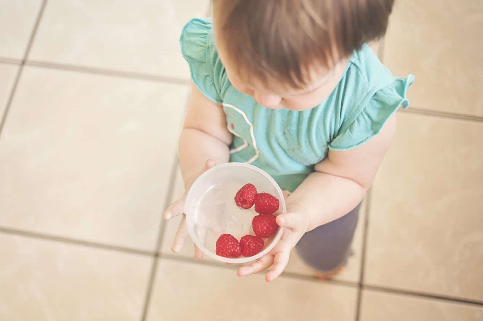 toddler holding berries