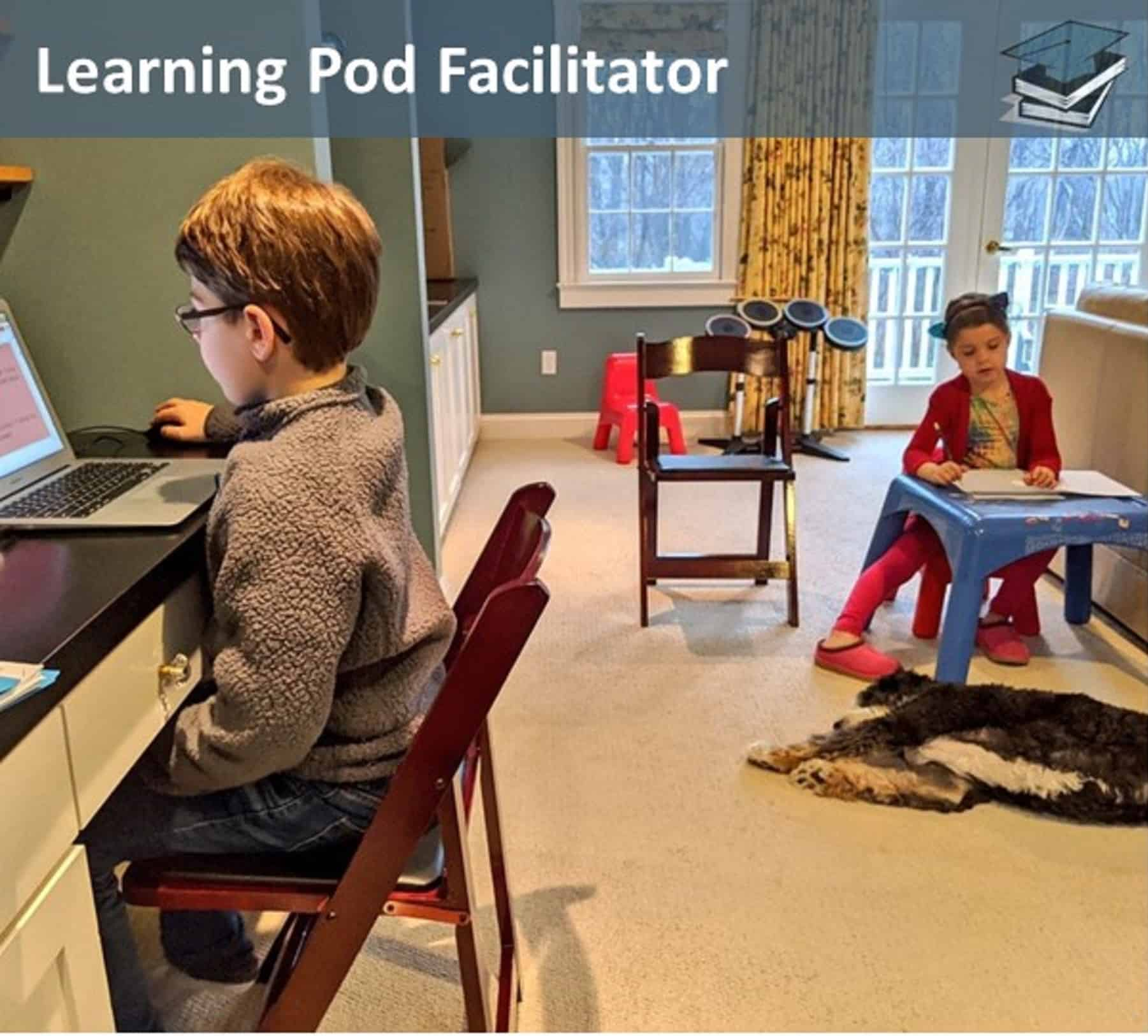 learning pod classroom in a home